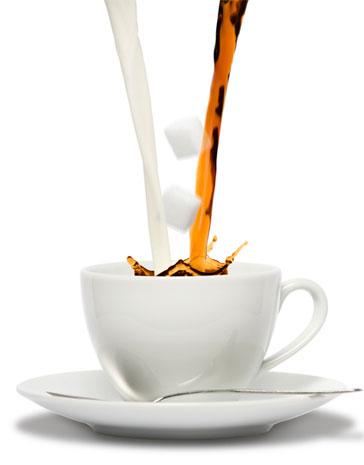 coffee, milk and sugar