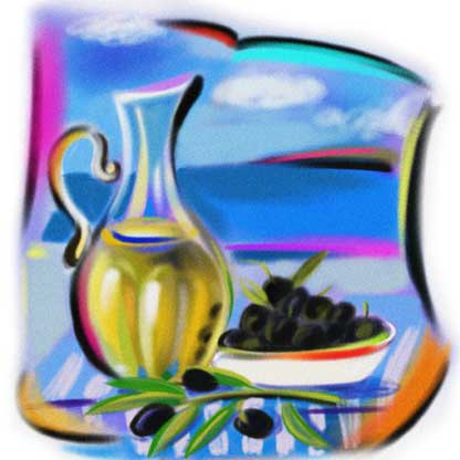 olive oil bottle, olives and sea