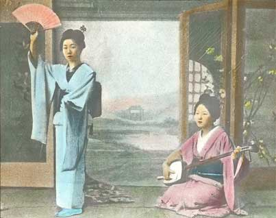 two geishas old painting