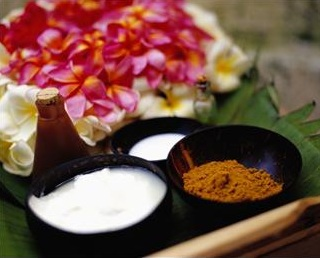 organic skin products and flowers
