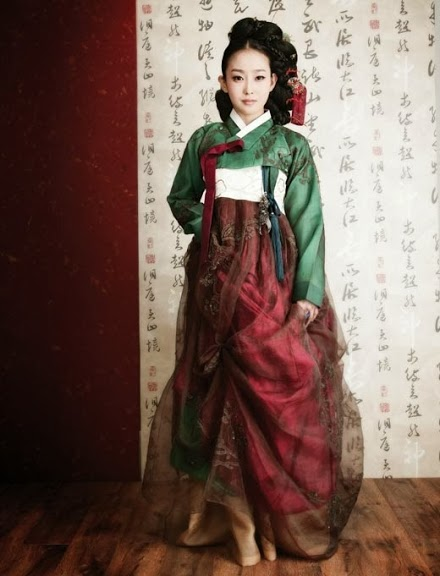 Korean hanbok - dark red and green