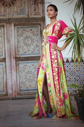 Pink and green Moroccan kaftan