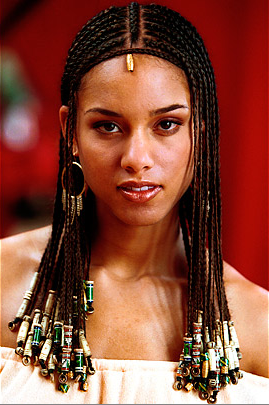 Alicia Keys braids with beads