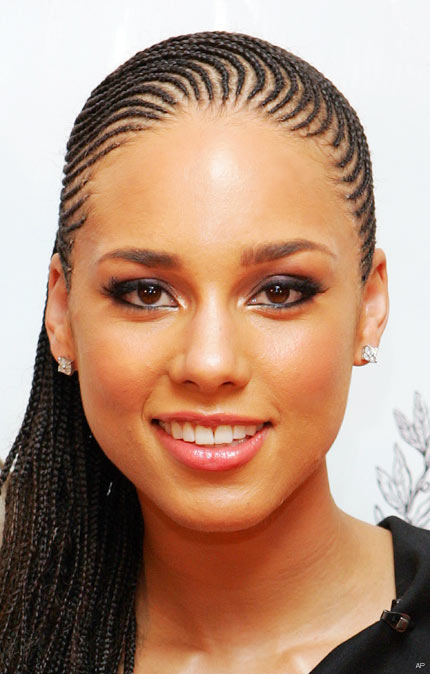 Alicia Keys cornrow hairstyle