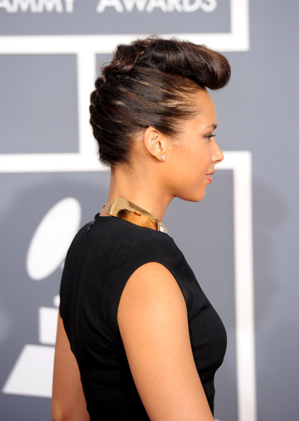 Alicia Keys braided updo 2012
