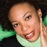 black woman beautiful brows green background