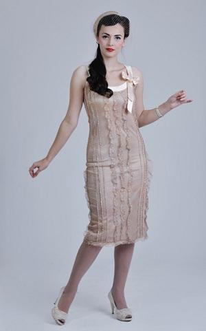 Vintage Tea Length Rose Wedding Dress For Older Brides